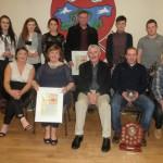 "Kilcummin Gaa 2015 Awards Night, 20-2-2015. F.R.L.To. R.Niamh o Donoghue,Ladies Gaa Chairperson, Brid Fleming, ""Merit Award"" Eugie McSweeney, Club Chairman, Seanie o Leary, Clubperson of The Year. Dara Lehane ""Merit Award"" B.L.To.R. Laura Teahan& Kate Maher, Club, Kerry All-Ireland, U16 Winners. Aishling o Donoghue, Ladies Player of The Year. Tom O Connor ""Merit Award"" James Devane, Senior Player Of The Year, Eric o Connor, Joint Junior Player Of The Year, With Tommy Cooper."