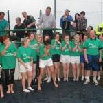 Kilcummin Senior Ladies Team awaiting The Ice-Bucket Challenge With Willing Hands Overhead.